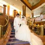 エントランスの結婚写真前撮りベィシェラトン横浜 ホテル&タワーズ