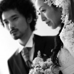 白黒のウェディング写真