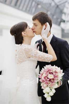 空港の結婚写真